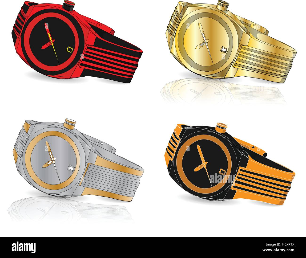 Men watch classic design vector isolated - Stock Image