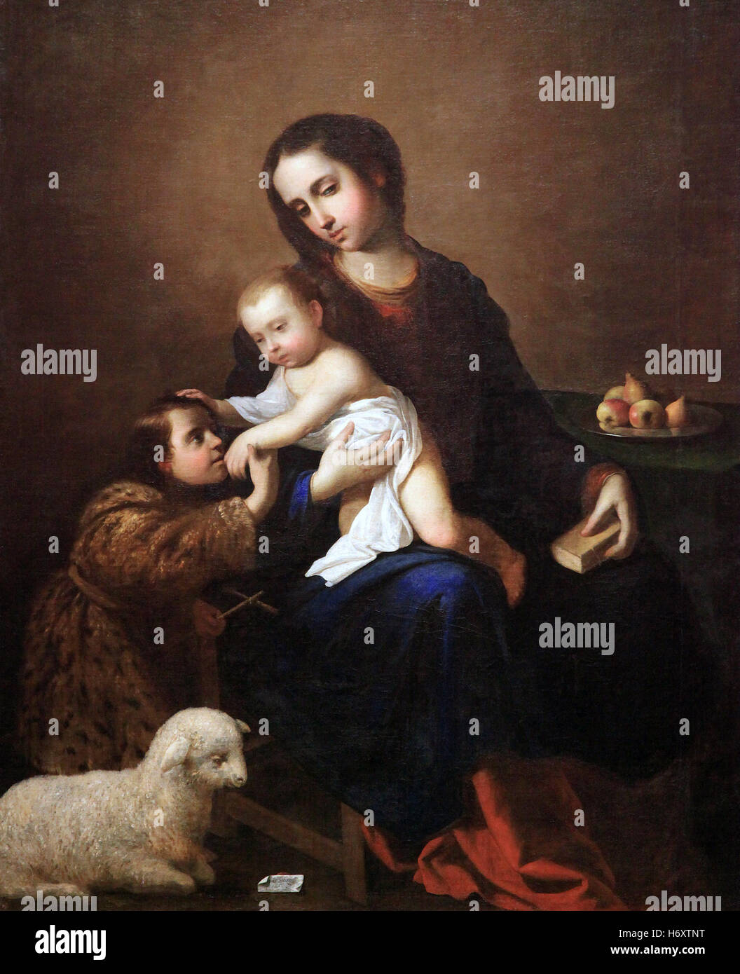Virgin and child with the infant Saint John the Babtist by Francisco de Zurbaran 1598-1664 - Stock Image