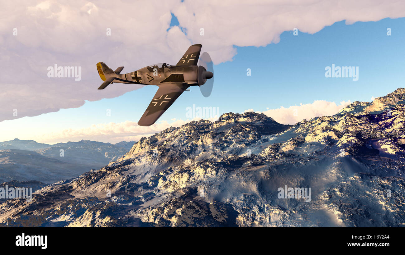3D Illustration of a FW190 Focke Wulf WWII fighter airplane. - Stock Image