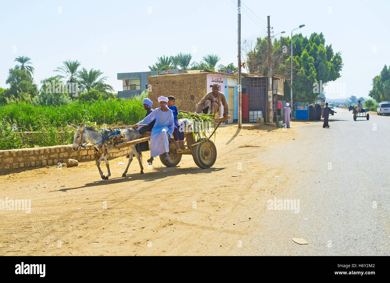 The Upper Egypt is poor agricultural region, so the local farmers often use the donkey carts for transportation - Stock Image