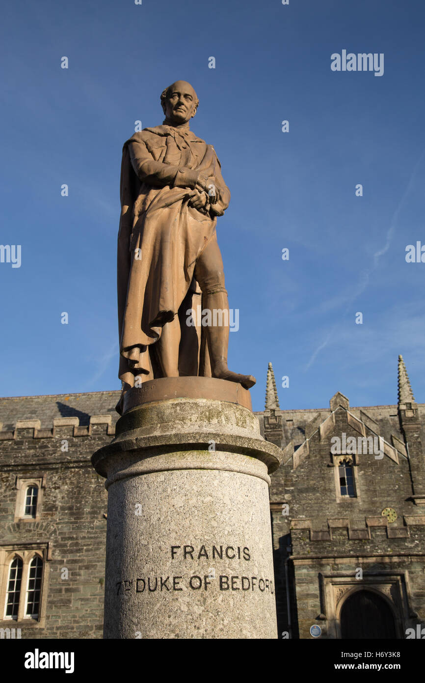 Statue to Francis, the 7th Duke of Bedford, outside Tavistock Town Hall and Museum - Stock Image