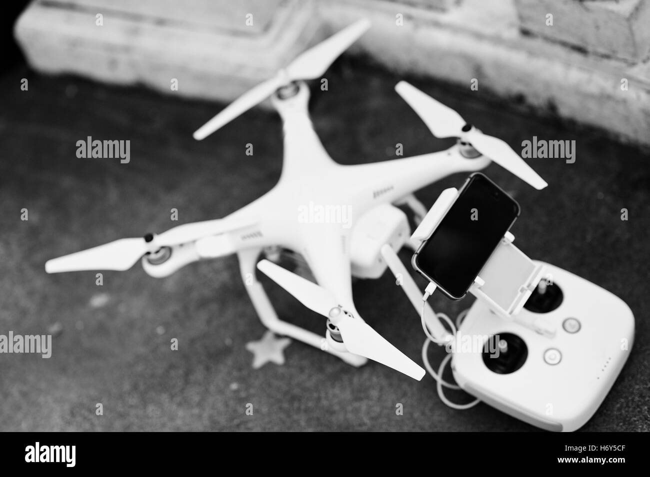 Drone quadcopter with remote control and gadget - Stock Image