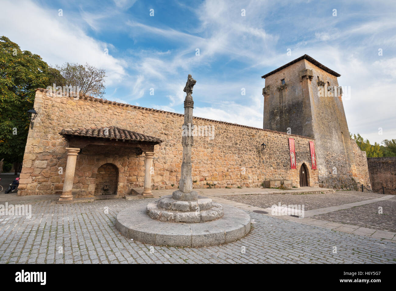 COVARRUBIAS, SPAIN - OCTOBER 11: Tower and ancient fortress on October 11,2016 in the ancient medieval village of - Stock Image
