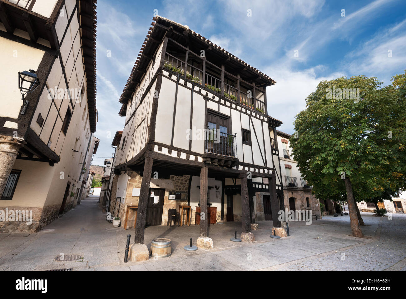 Ancient medieval buildings in the ancient city of Covarrubias, Burgos, Spain - Stock Image