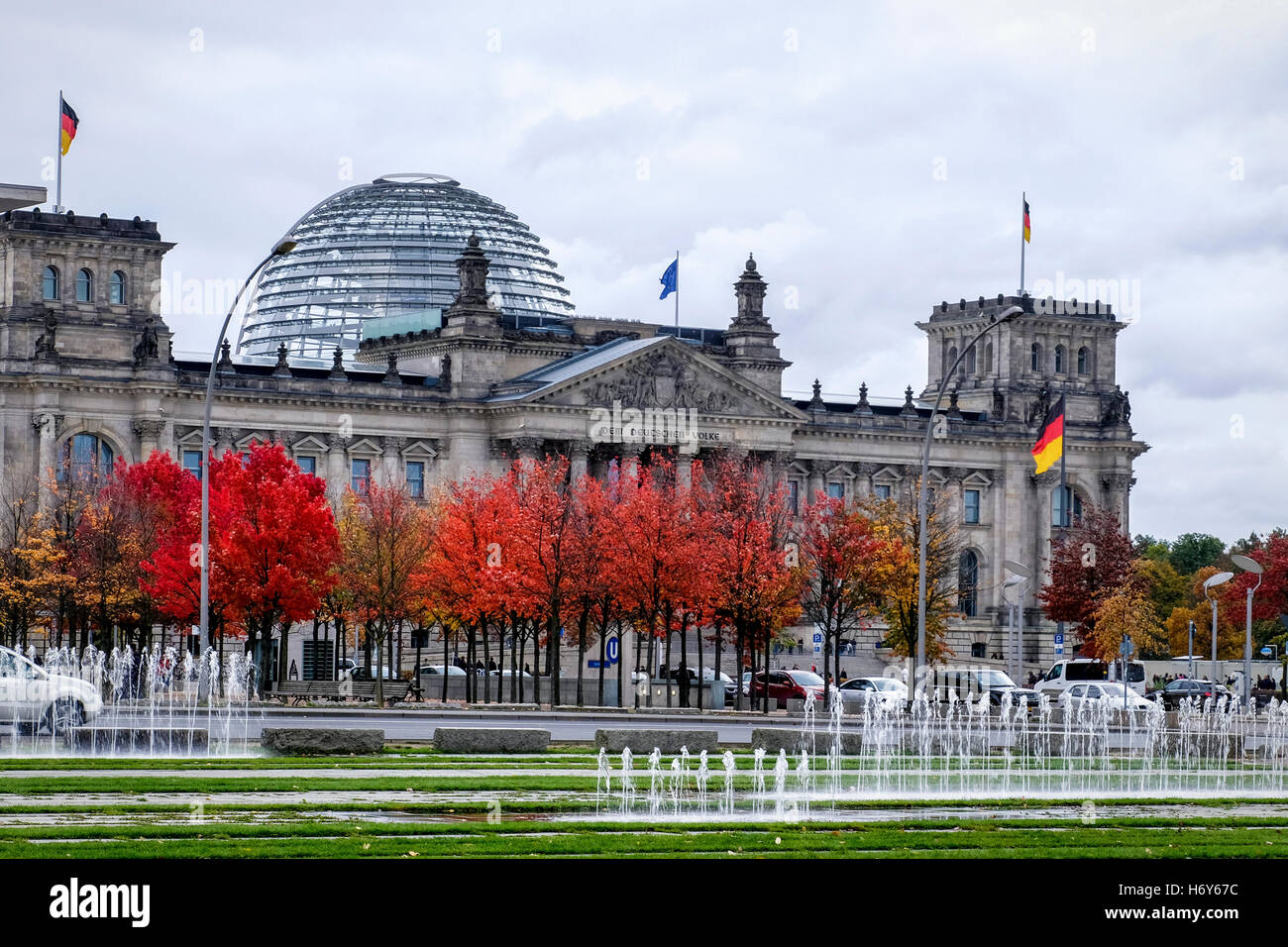 Berlin, Mitte. Reichstag Government Building In Autumn. German Federal Parliament Bundestag, Norman Foster Dome Stock Photo