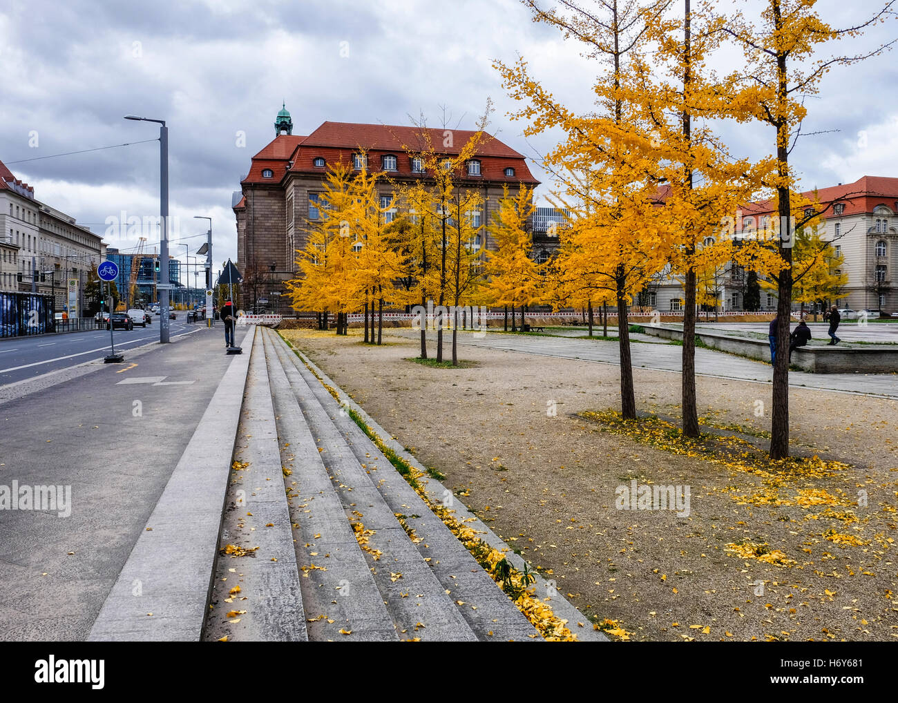 Government administration building & Yellow Maidenhair, Gingko, trees in Invaliden Park in autumn. Mitte Berlin - Stock Image