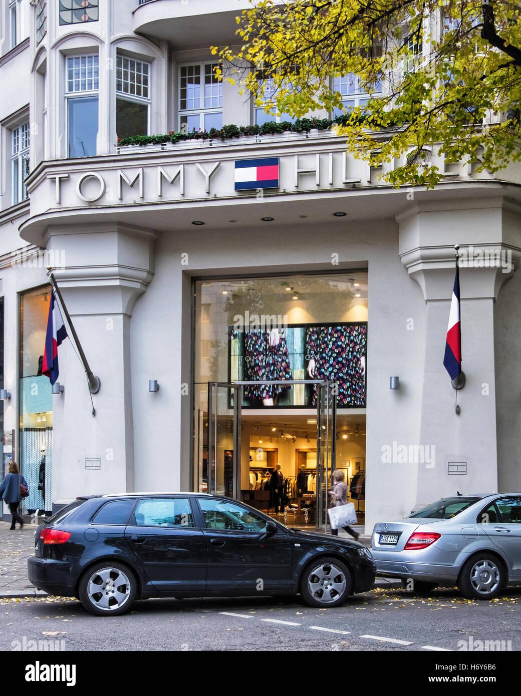 Tommy Hilfiger Store for upmarket Men's clothing, Kurfürstendamm, Berlin - Stock Image