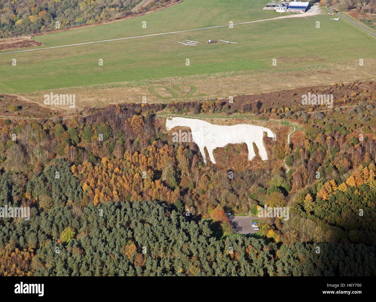 aerial view of Yorkshire Gliding Club at Sutton Bank & Kilburn White Horse, UK - Stock Image