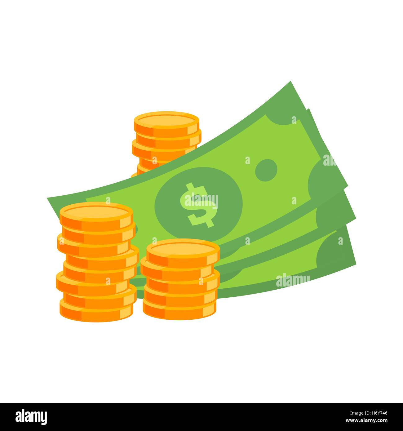 flat vector cash icon money icon coins icon with long shadow stock