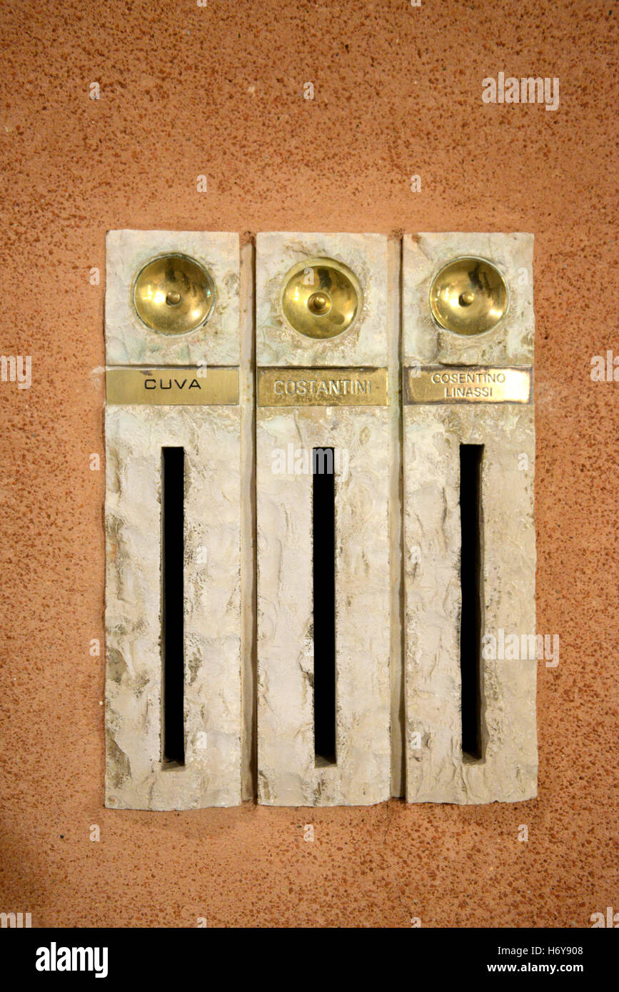 Front Door Bell Stock Photos Images Alamy Musical Doorbell Circuit With Over Light Three Traditional Italian Bells Letter Boxes Image