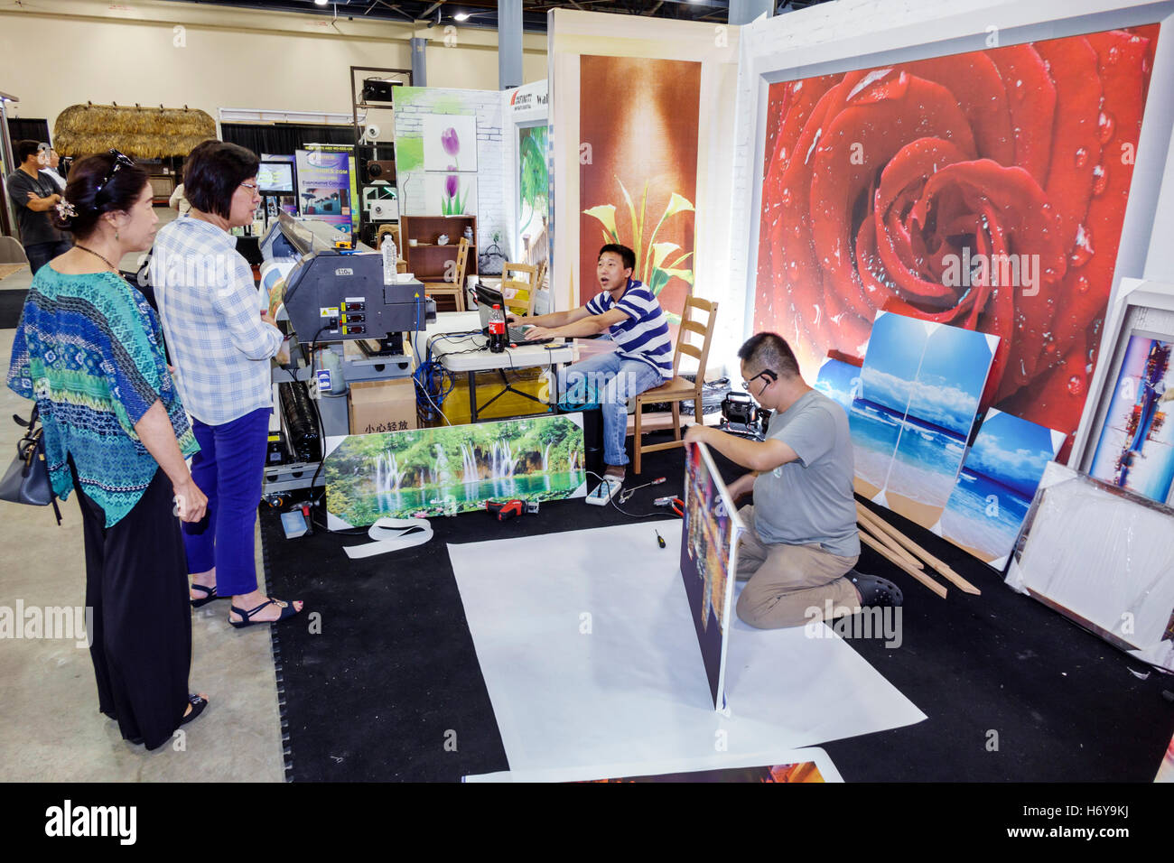 Amazing Miami Florida Beach Convention Center Centre Home Design And Remodeling  Show Photo Murals Printing Company Asian Woman Man Framing