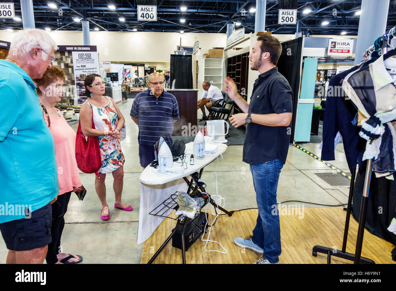 Florida Miami Beach Convention Center Centre Home Design And Remodeling Show  Product Demonstration Demonstrating Selling Man Salesman Steamer Iron Lis