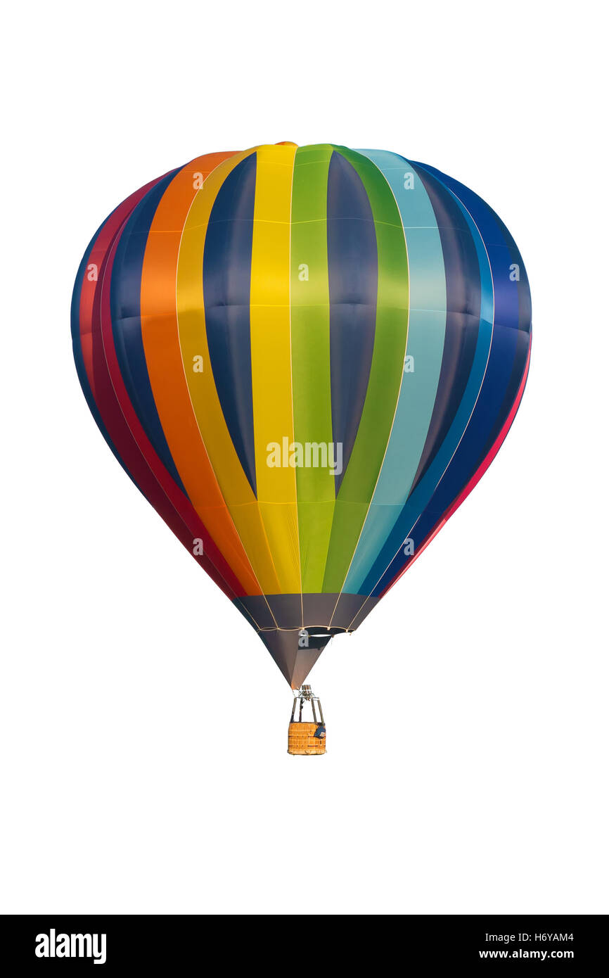 multicolored hot air balloon isolated on white background - Stock Image