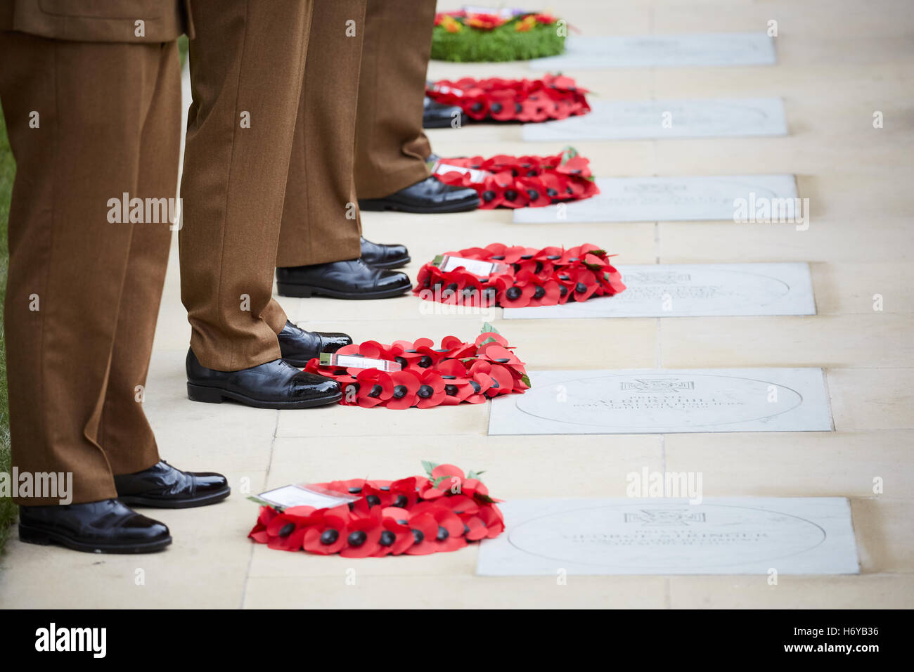 Remembrance poppy wreaths  artificial flower  commemorate military personnel died war  military veterans commemorate - Stock Image