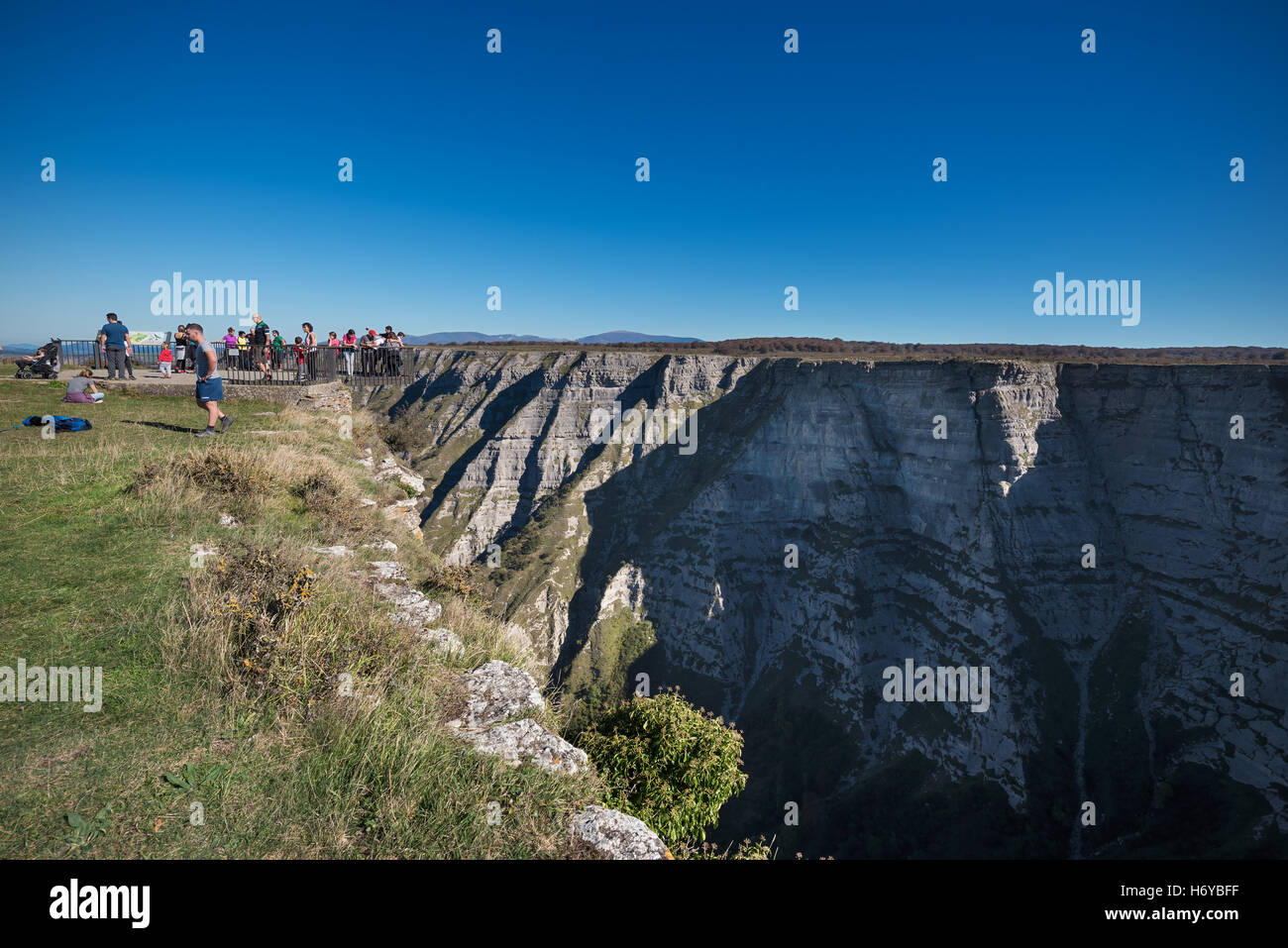BURGOS, SPAIN - OCTOBER 29: Tourist visiting famous viewpoint Salto del nervion on October 29,2016 in Burgos, Spain. - Stock Image