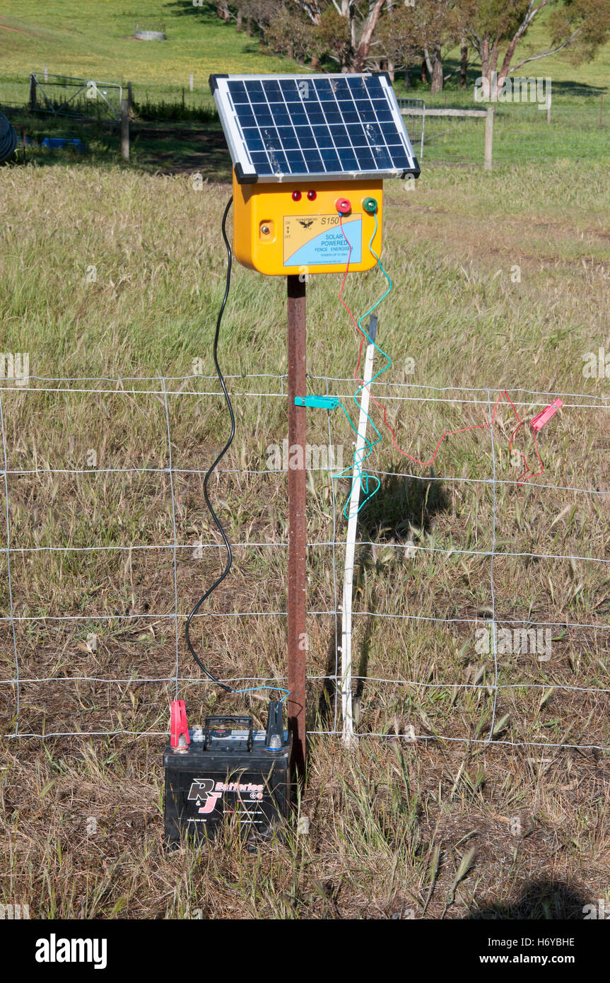 Solar-powered electric farm fence on a property outside Harrow, western Victoria - Stock Image
