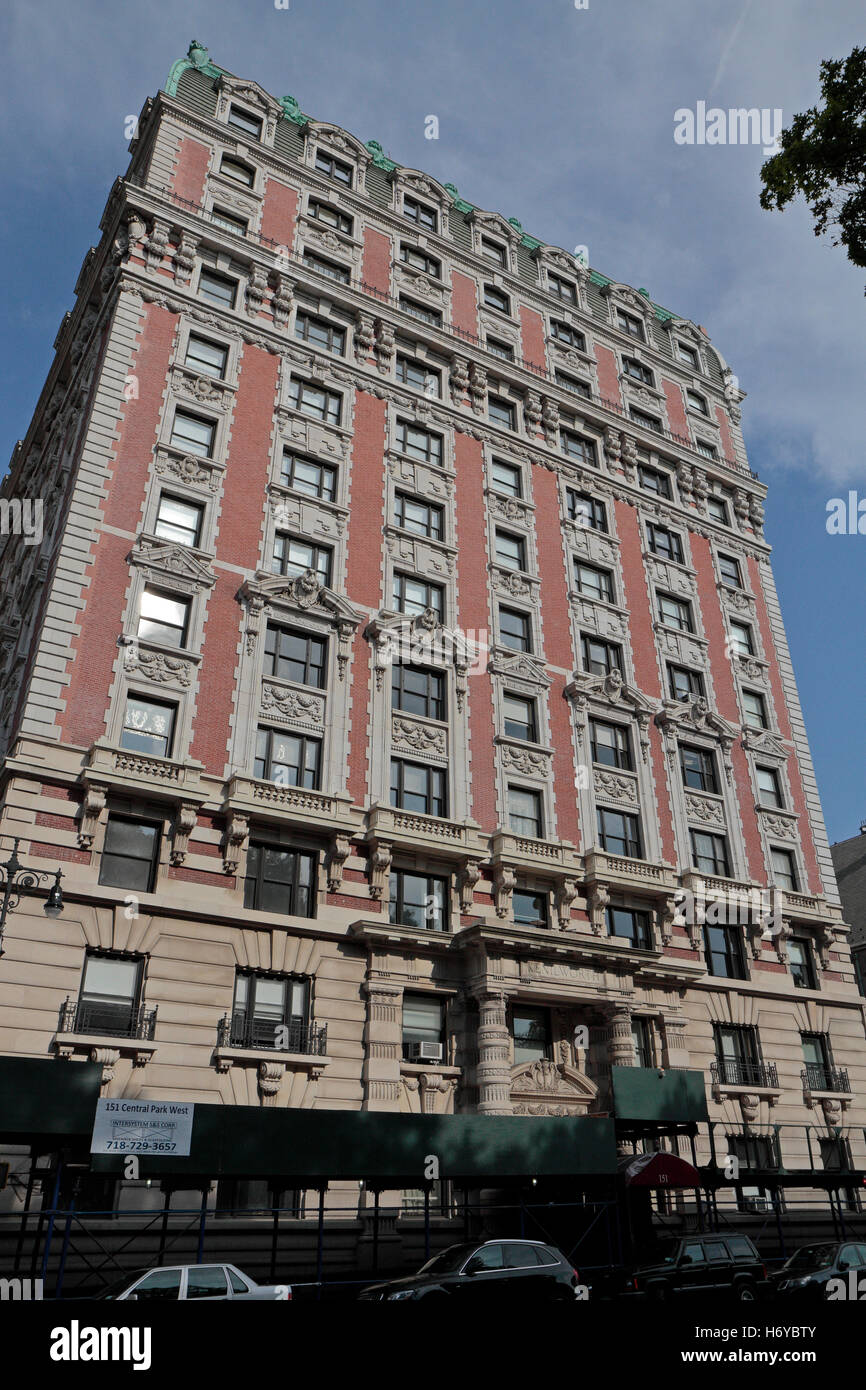 The Kenilworth at 151 Central Park West, a French Second Empire-style apartment building in Manhattan, New York, - Stock Image