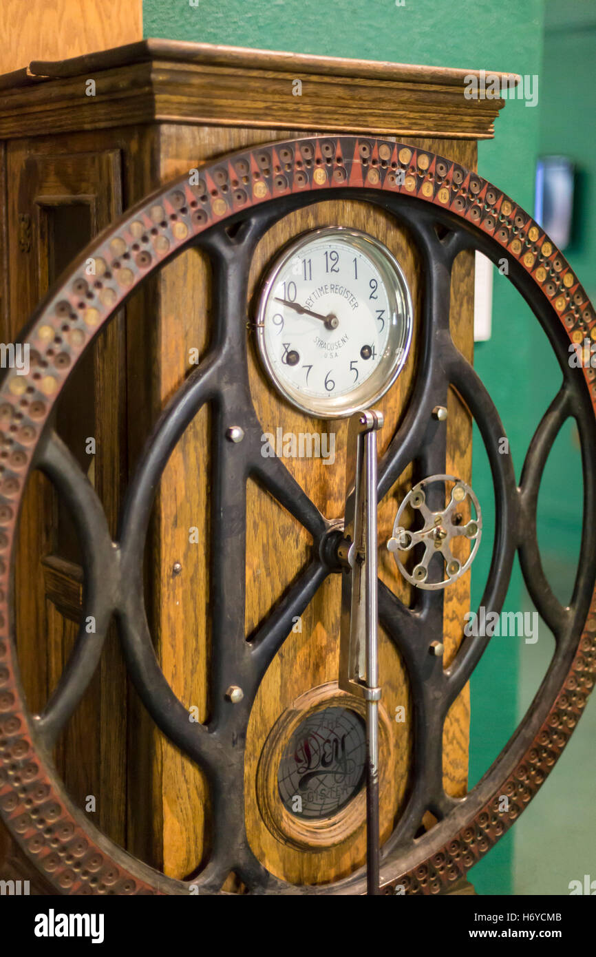 Leadville, Colorado - A time clock on display at the National Mining Hall of Fame and Museum. Stock Photo