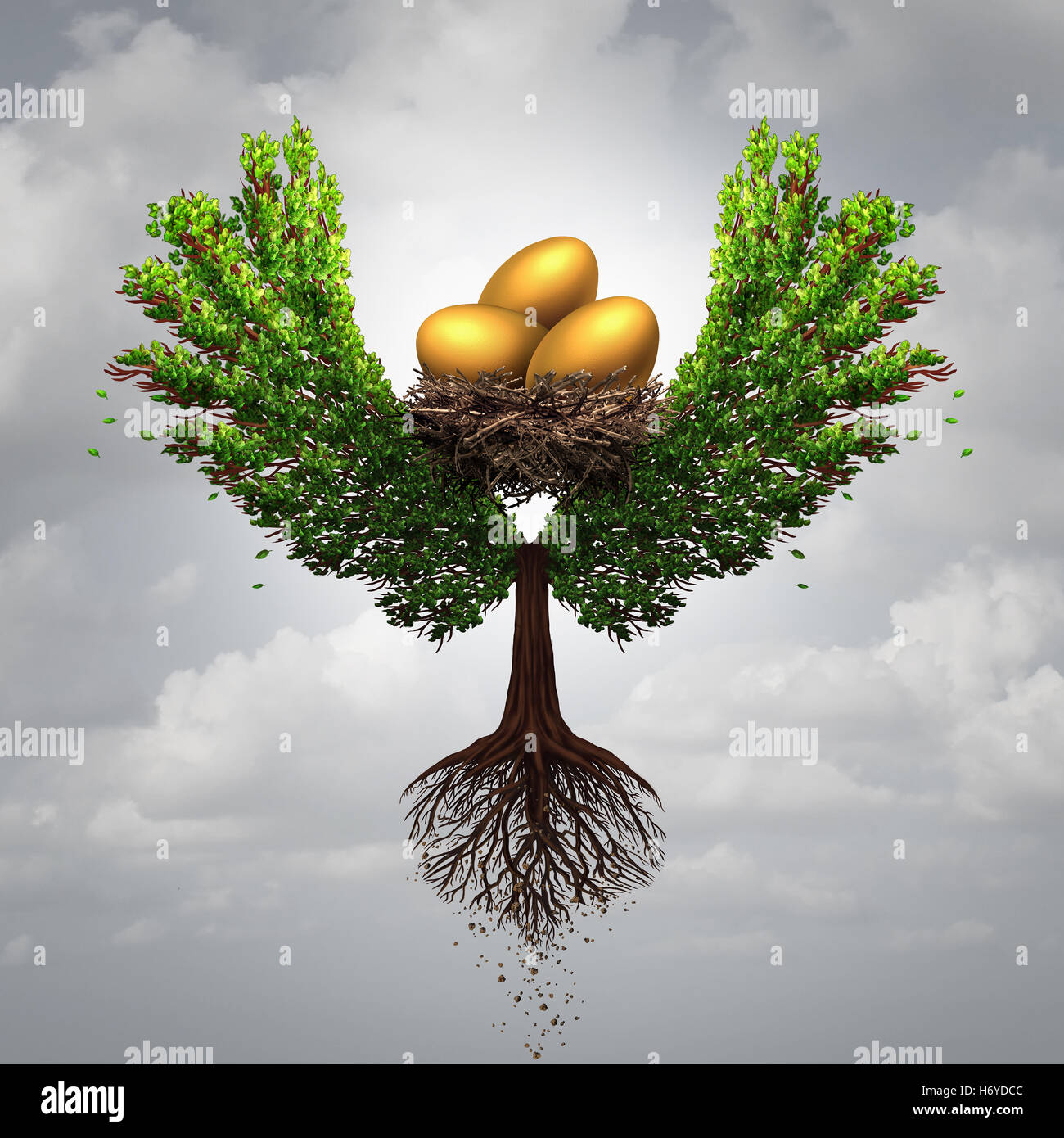 Transfer funds financial concept and international money transfer symbol as a tree shaped as a bird with wings transporting - Stock Image