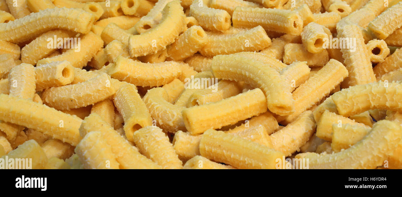 yellow macaroni dry fresh pasta with eggs made in Italy Stock Photo