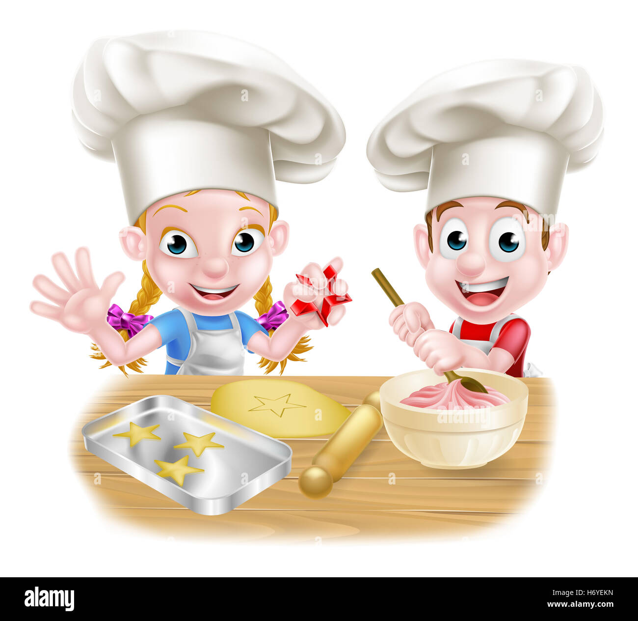Cartoon Chef Baker Kids Baking And Cooking As Chefs In The