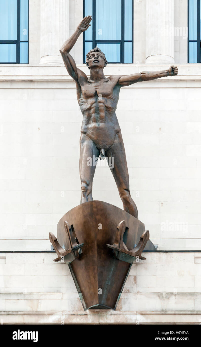 The statue on Lewis' department store by Jacob Epstein is officially Liverpool Resurgent, but is known locally - Stock Image