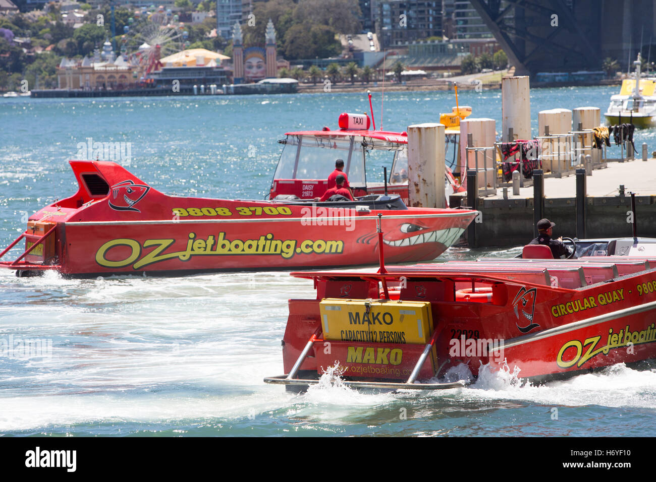 Oz jet speed jetboating on Sydney harbour at circular quay,Sydney,Australia - Stock Image
