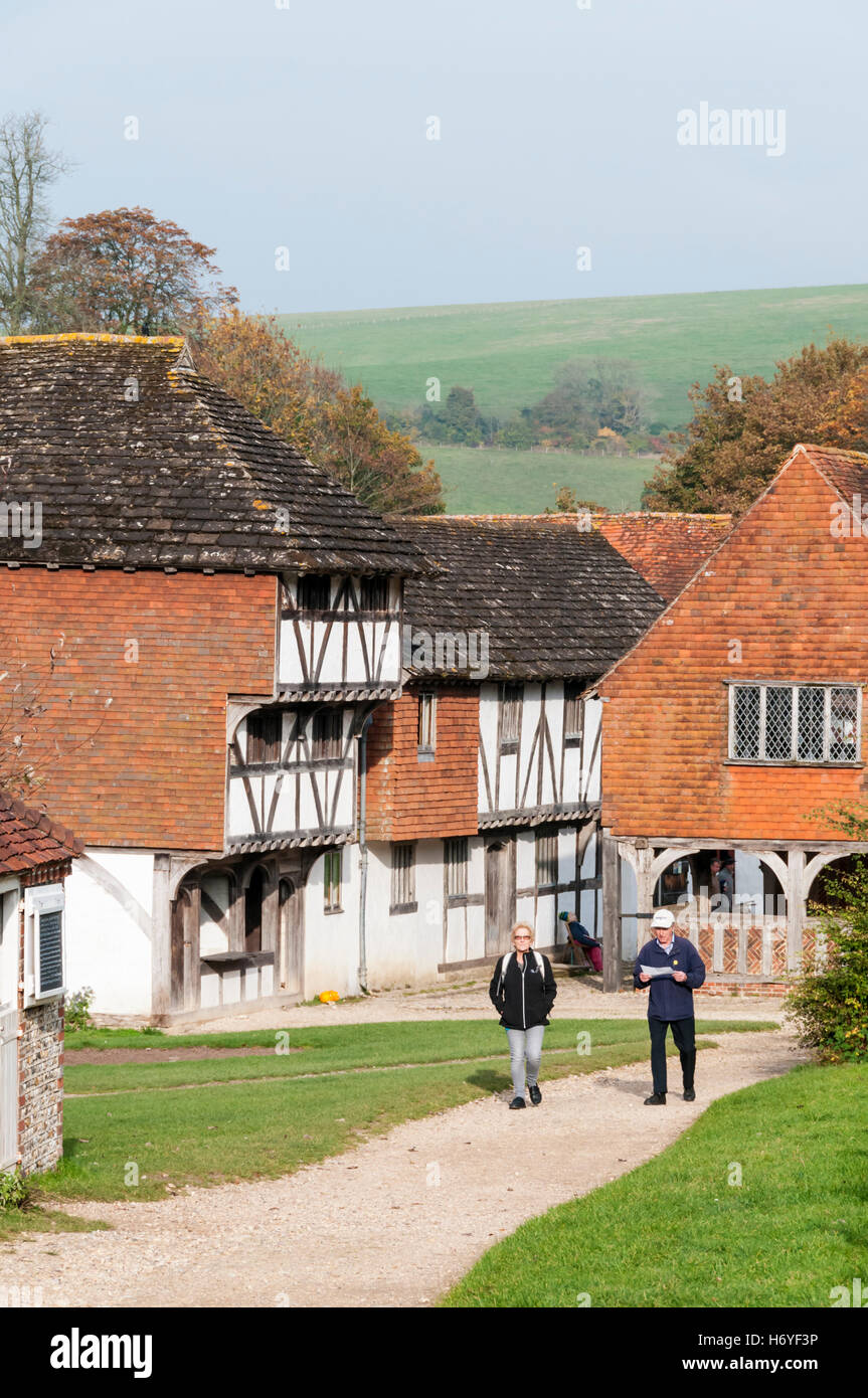 Visitors to the Weald and Downland Open Air Museum at Singleton, West Sussex. - Stock Image