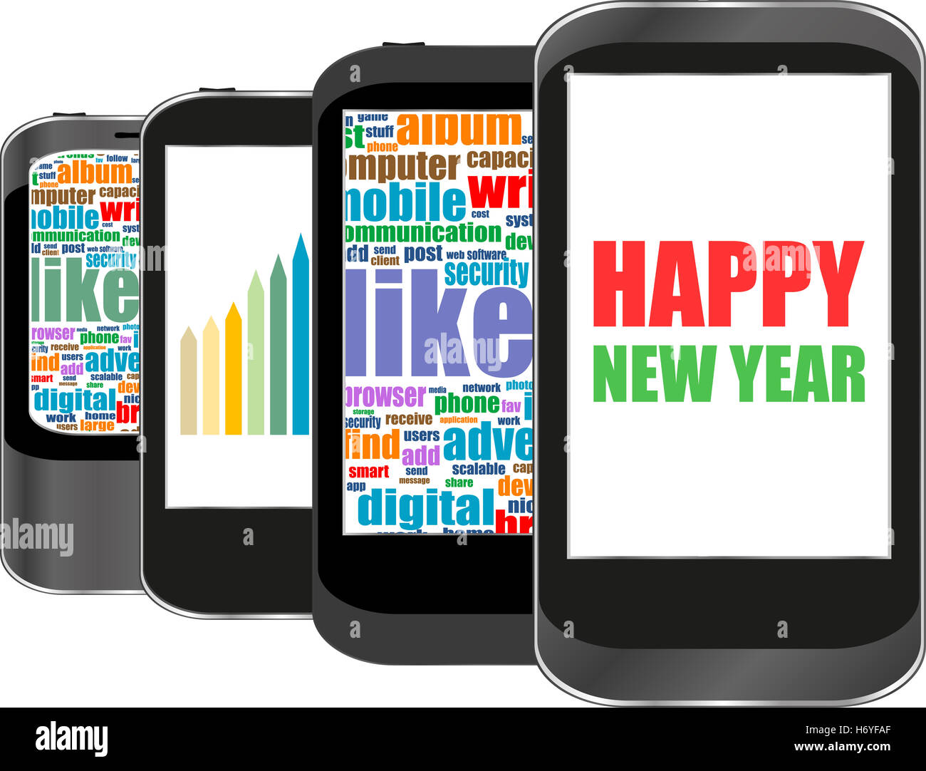 Smart Phone With Happy New Year Greetings On The Screen Holiday