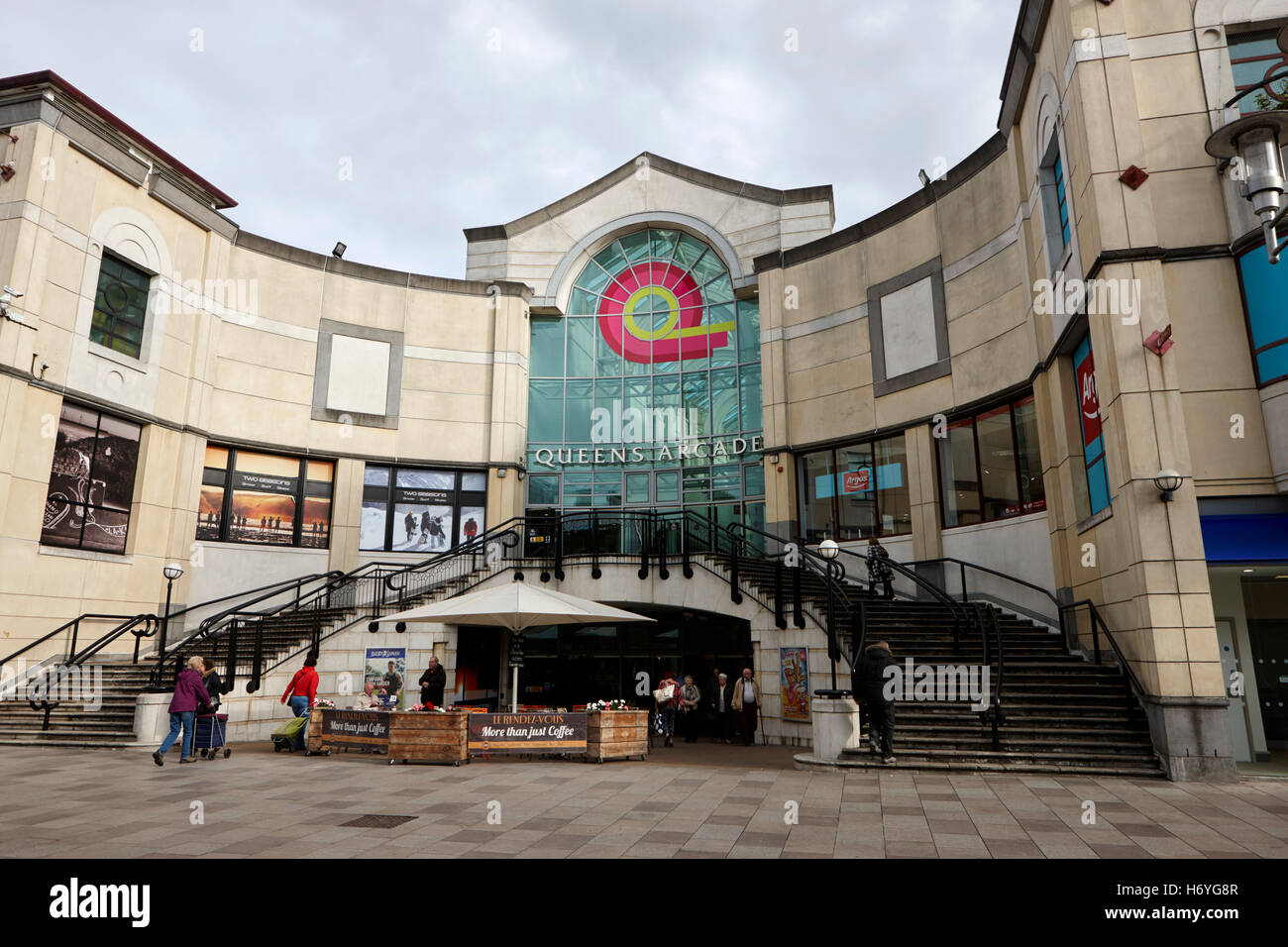 queens arcade shopping centre Cardiff Wales United Kingdom - Stock Image