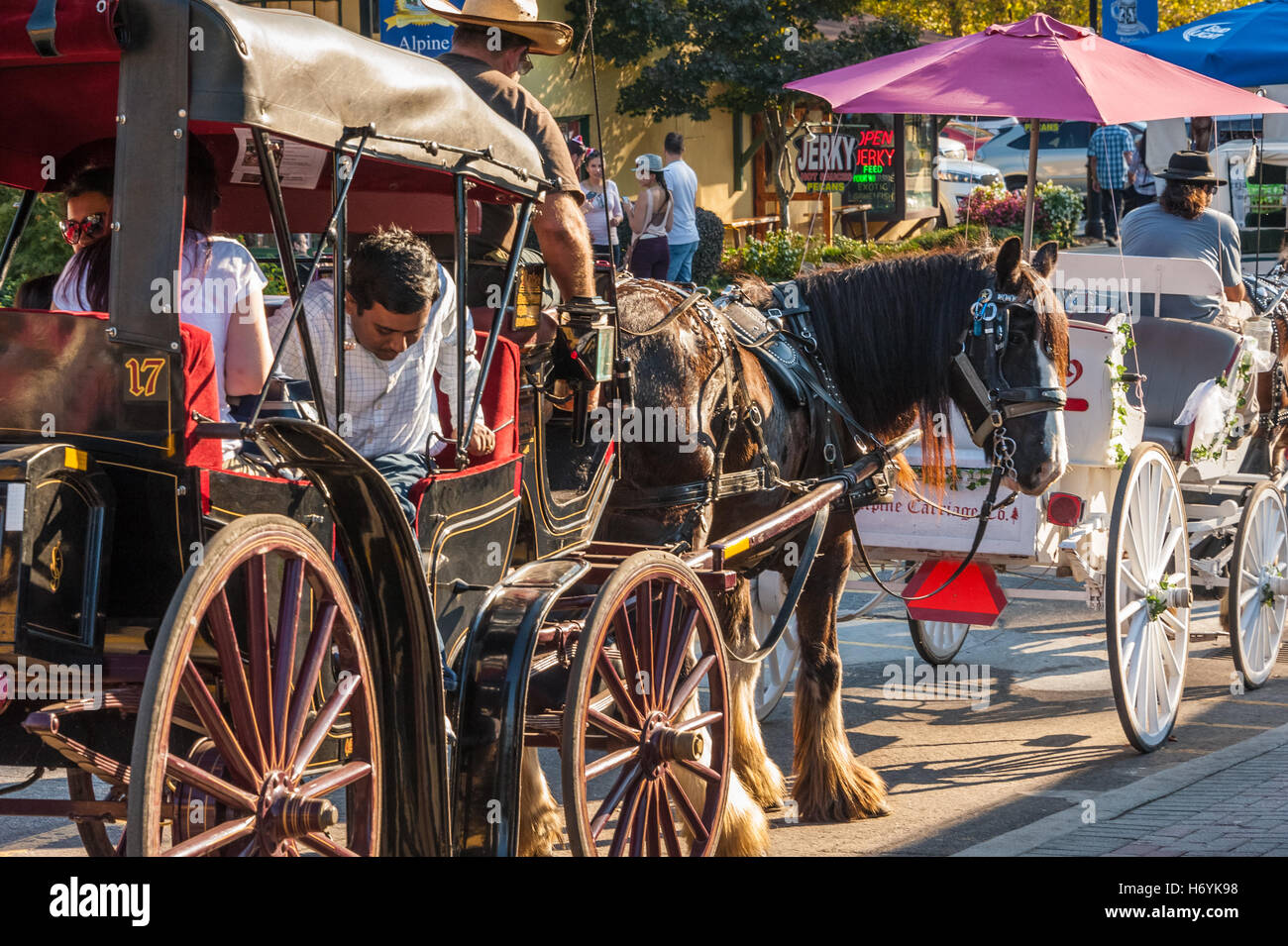 Visitors tour Helen, Georgia, a recreation of a Bavarian Alpine village, in horse-drawn carriages during the annual - Stock Image