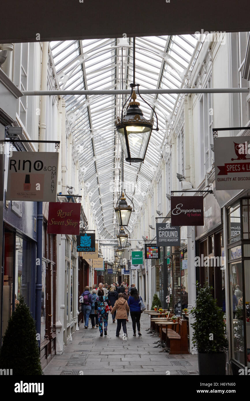 royal arcade shopping area the hayes Cardiff city centre center Wales United Kingdom - Stock Image