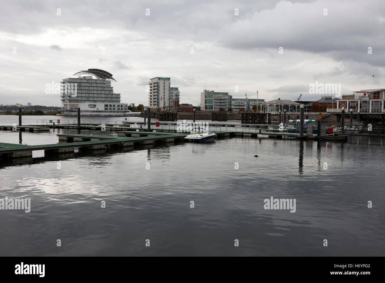 Cardiff bay marina on an overcast day  Wales United Kingdom - Stock Image