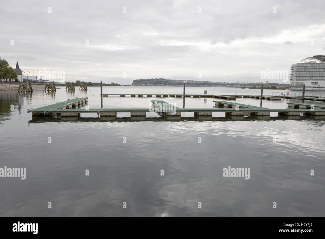 short stay visitors moorings Cardiff bay marina on an overcast day  Wales United Kingdom - Stock Image