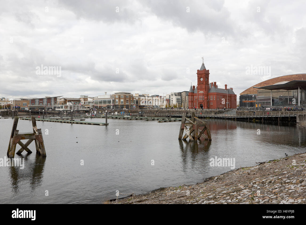 Cardiff bay waterfront on an overcast day Wales United Kingdom - Stock Image