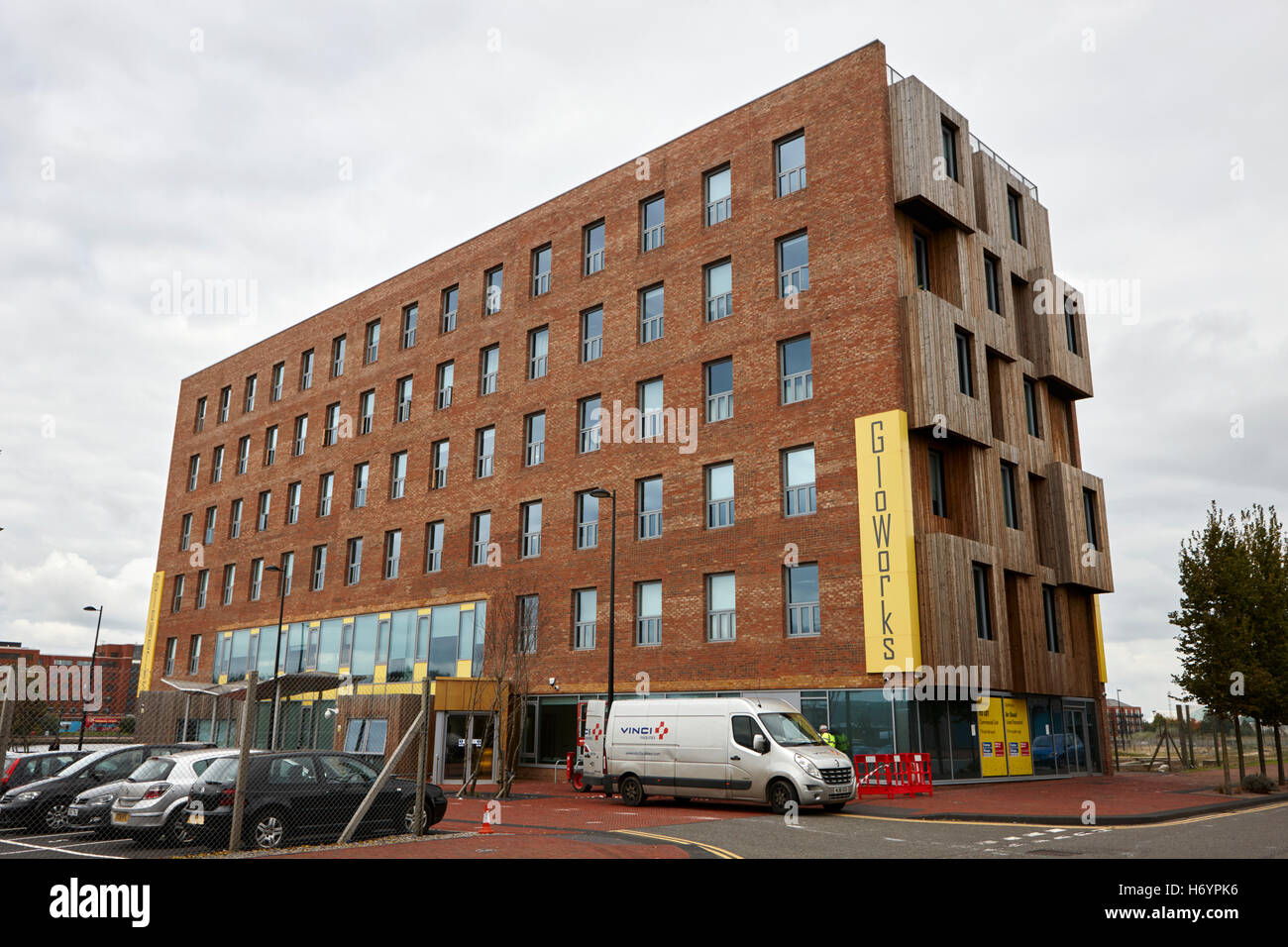 gloworks creative industries centre hub porth teigr Cardiff bay Wales United Kingdom - Stock Image