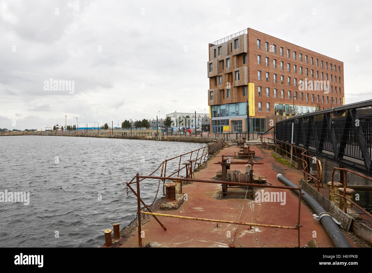 roath basin and gloworks creative industries centre hub porth teigr Cardiff bay Wales United Kingdom - Stock Image
