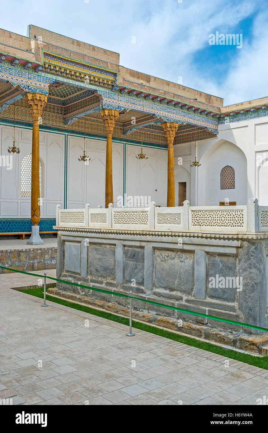 The Mausoleum of Sheikh Naqshband with traditional carved and painted decorations, Bukhara, Uzbekistan. - Stock Image