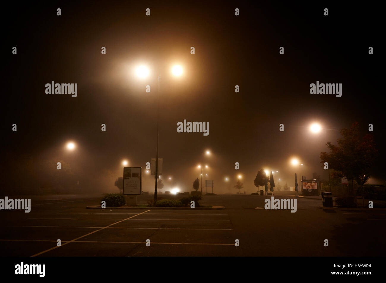 motorway service station carpark empty at night in fog United Kingdom - Stock Image