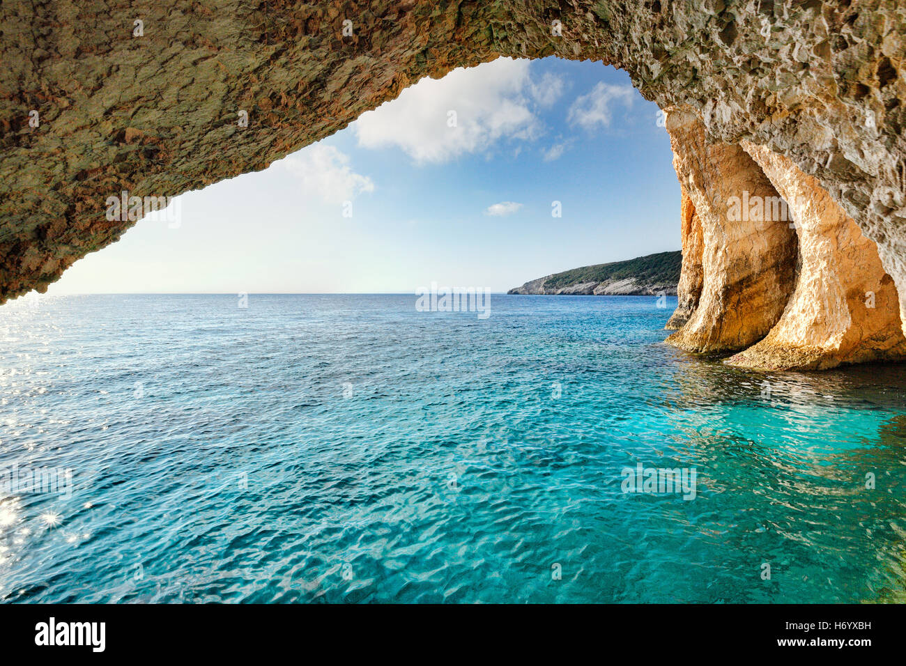 The famous Blue Caves in Zakynthos island, Greece - Stock Image