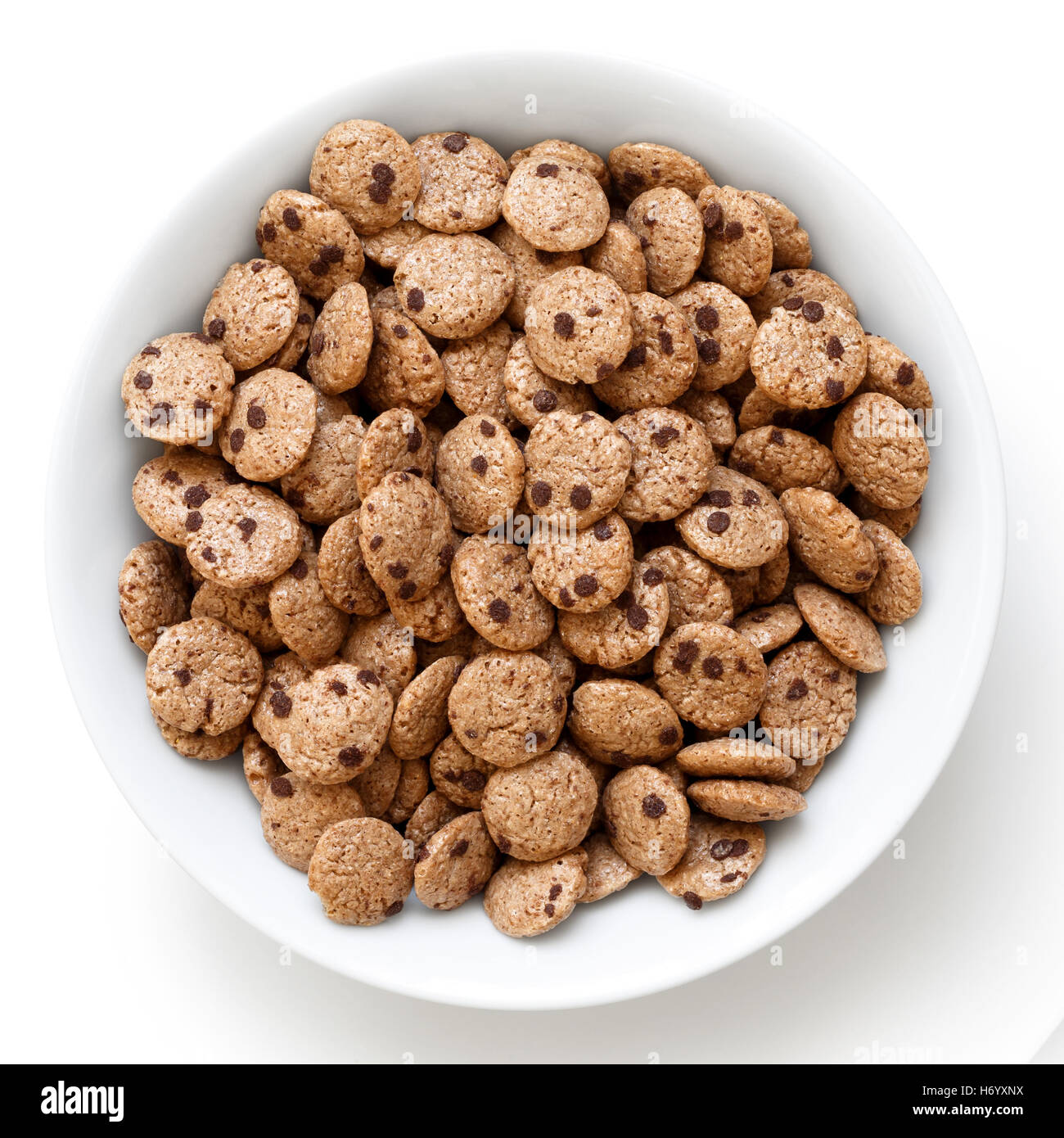 Bowl Of Chocolate Chip Cookies Cereal Isolated On White