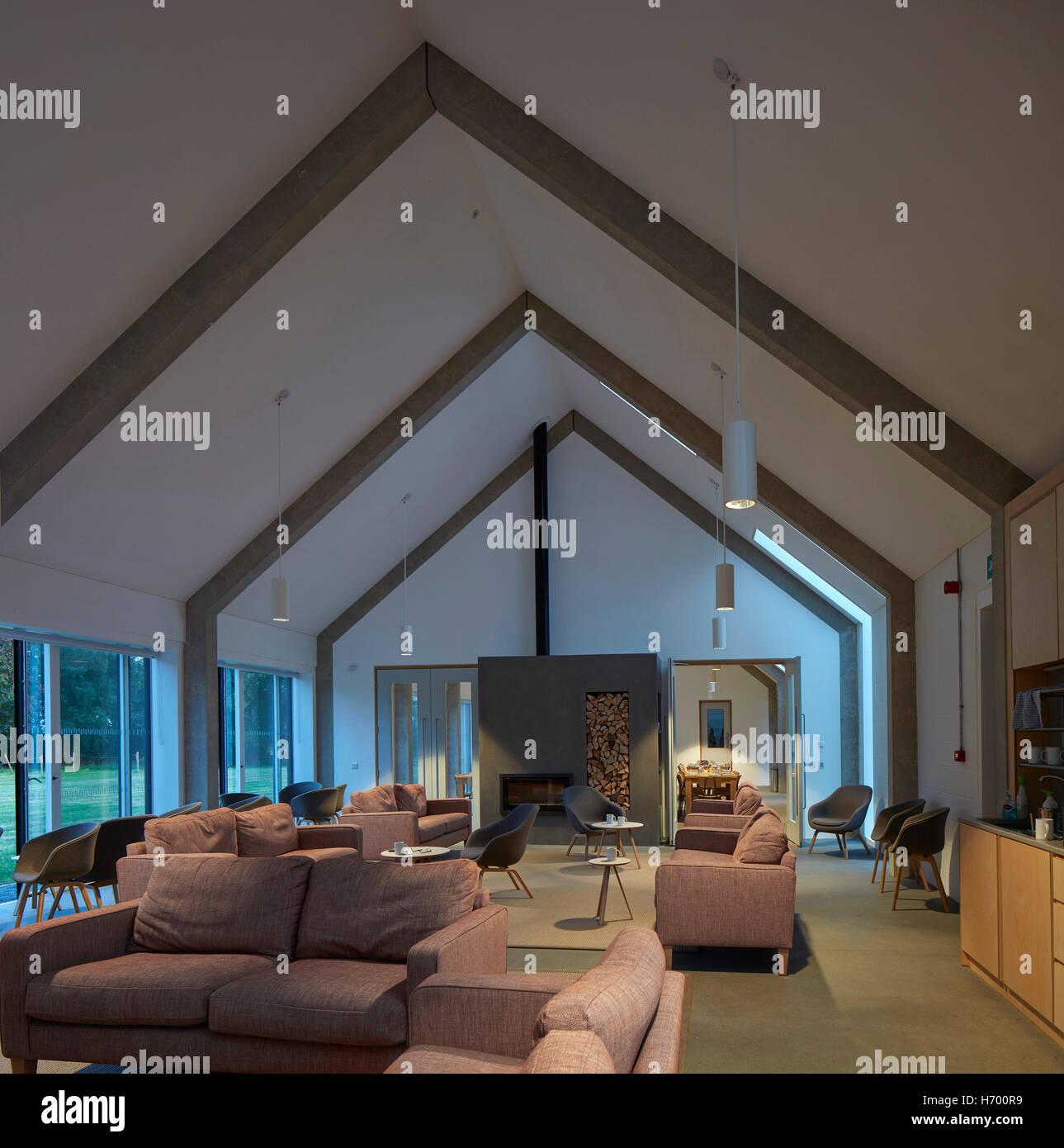 Communal Living Room With Exposed Concrete Ribcage Vajrasana Stock Photo Alamy
