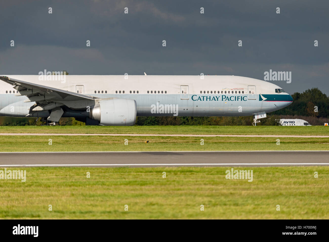 Boeing 777-367ER B-KQT Cathay Pacific Airways Manchester Airport England.Arrivals. departures. - Stock Image