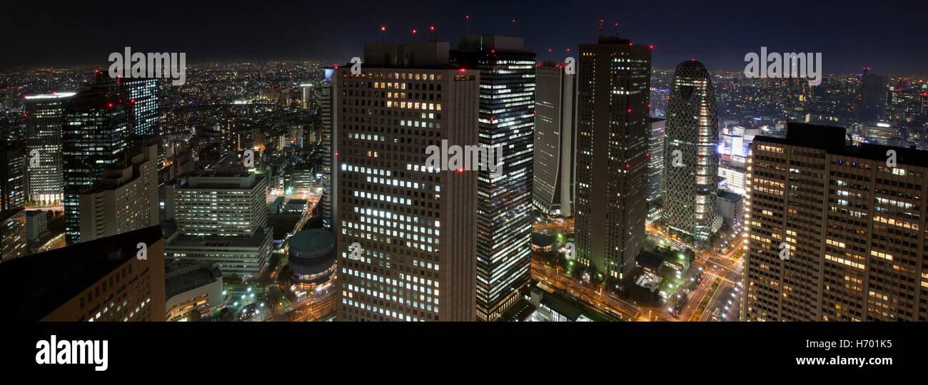 Panorama of Tokyo by night. - Stock Image