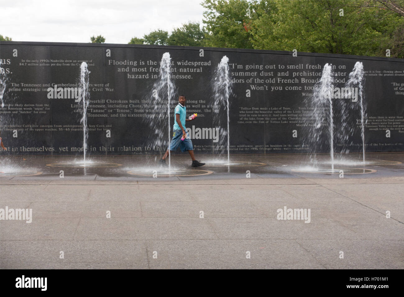 Bicentennial park water fountains Nashville TN - Stock Image