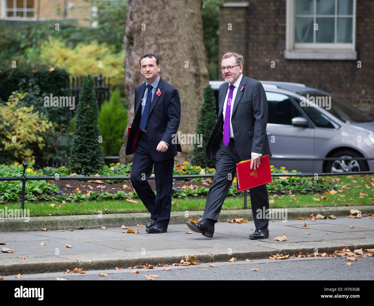 David Mundell,Scotland secretary,and Alun Cairns,Wales secretary, arrive at Downing street for a Cabinet meeting - Stock Image