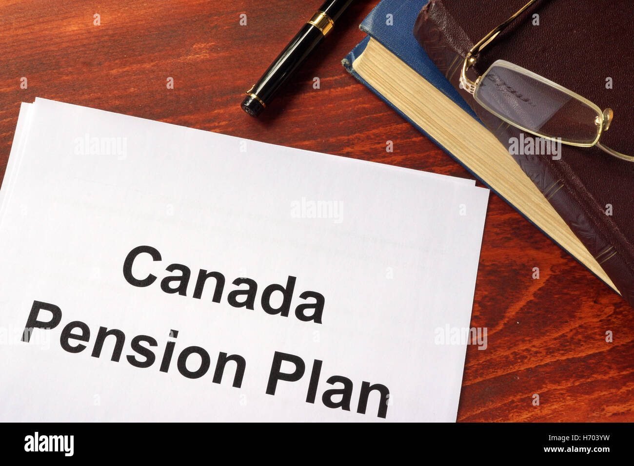 Canada Pension Plan CPP written on a sheet on an office table. - Stock Image