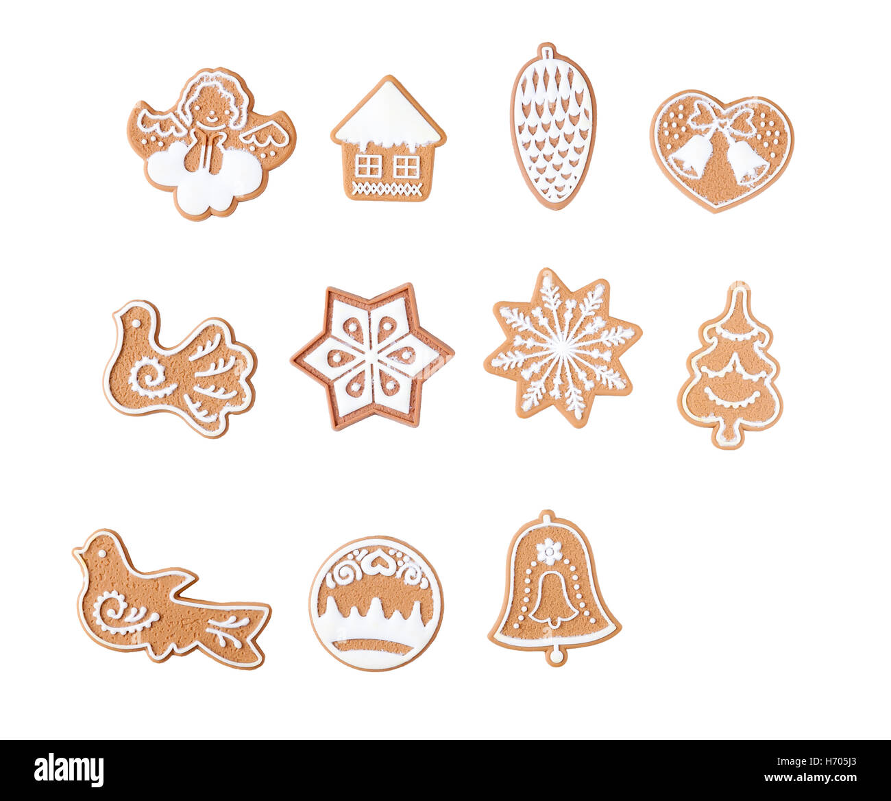 Gingerbread with frosting, different shapes isolated on white background. Stock Photo