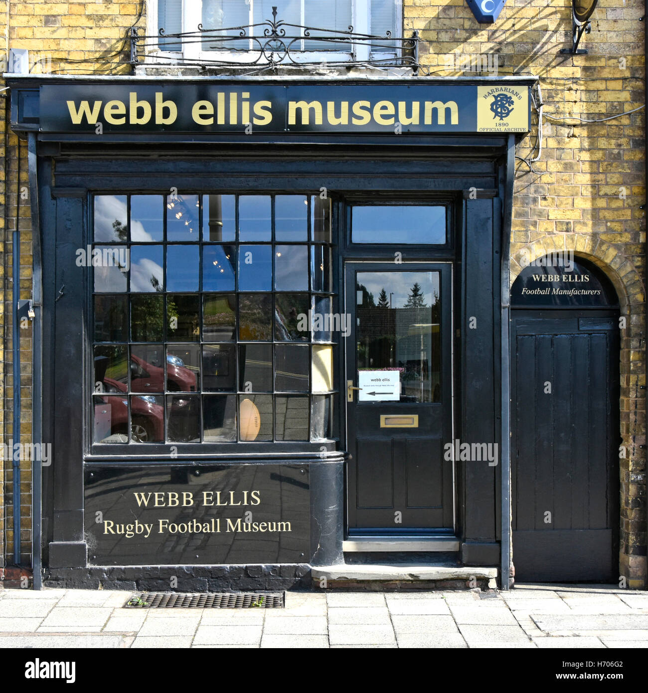 Web Ellis Museum in town center of Rugby Warwickshire England UK claimed birthplace of Rugby Football collection - Stock Image