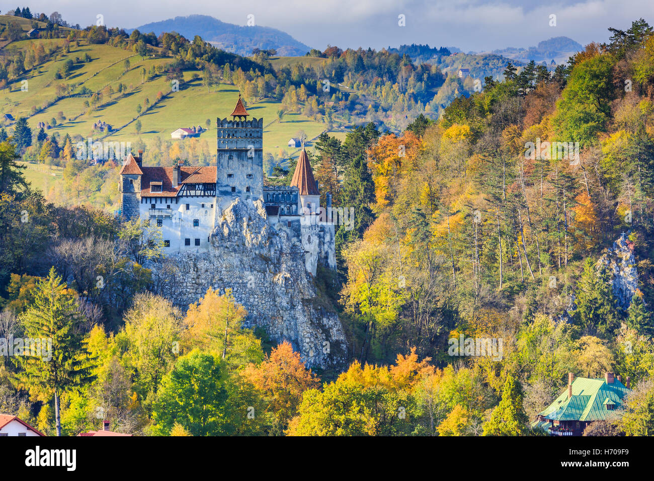 Brasov, Transylvania. Romania. The medieval Castle of Bran. Stock Photo